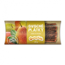 Plátky ovocné jablko hruška bez cukru bezgluténové 20g